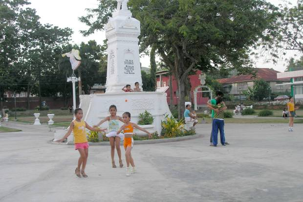 dance class at the central park in rural Sibonga, Cebu